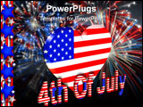 PowerPoint Template - Th of July stars, stripes patriotic American border for holiday greeting, invitation or stationery