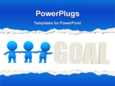 PowerPoint Template - 3D men trying to reach the word goal - isolated over a white background