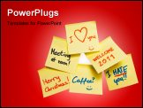PowerPoint Template - collection of adhesive notes with various messages on a whiteboard
