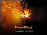 PowerPoint Template -  steel pipe is cut off by flame of gas cutter. Is Dangerous For A Man. ** Note: Slight graininess,