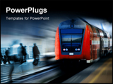PowerPoint Template - fast moving red train against a blurred background.