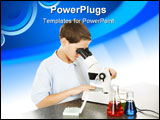 PowerPoint Template - School boy in the school laboratory looking through a microscope. White background.