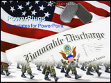PowerPoint Template - Dog tags and honorable dishcharge on an American flag.