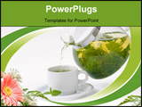 PowerPoint Template - A Cup with mint tea and teapot