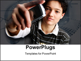 PowerPoint Template - Young man on dark background with cell phone.