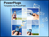 PowerPoint Template - Collage. Communication concept. Mobile phone in hand over sky.