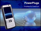 PowerPoint Template - Global technology pocket phone. Creative design mobile phone