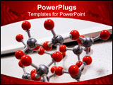 PowerPoint Template - red molecular structure on table