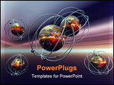 PowerPoint Template - d illustration, background, wallpaper of the micro cosmos, a molecule, atom, anti matter. quantum p
