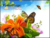 PowerPoint Template - Monarch Butterflies on flower arrangement.