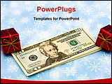 PowerPoint Template - Twenty dollar bills with red present on snowflake background gift of money
