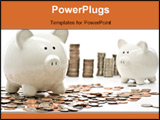 PowerPoint Template - Piggy Bank Savings Money Concept. Piggy Bank Surrounded with Stacks of US Coins.