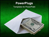 PowerPoint Template - Dollars in the envelope over white background
