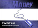 PowerPoint Template - Word money in blue connected to a computer mouse