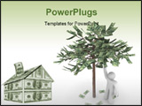PowerPoint Template - A person stands next to a money tree picking its fruit