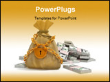 PowerPoint Template - money bag with gold lock and dollar packs isolated 3d illustration