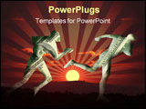 PowerPoint Template - illustration of business people of dollars money on sunsets