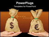 PowerPoint Template - Hands holding bags with dollar and euro symbols