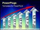 PowerPoint Template - graphic design of upward growth chart or graph of arrows made of money