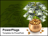 PowerPoint Template - Cultivating US dollars in a pot full of gold coins.