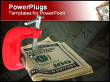 PowerPoint Template -  notes in a C clamp stack of one Hundred Dollar bills clamped down in a C Clamp on a white backgrou