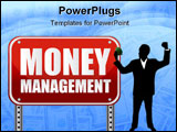 PowerPoint Template - Money management red street sign over a white background.