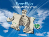 PowerPoint Template - Puzzle piece of money floating in a cloudy sky