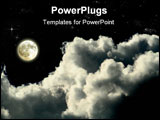 PowerPoint Template - a magic full moon night whit clouds and shining stars