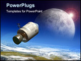 PowerPoint Template - Apollo module flying to the moon. Digital illustration.