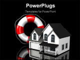 PowerPoint Template - d illustration of a large red and white lifesaver standing upright next to a simple two-story house