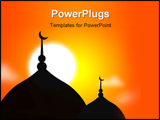 PowerPoint Template - religious Mosque silhoutte during sunset muslim community