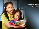 PowerPoint Template - An African American mother reads to her son.