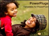 PowerPoint Template - An African American mother plas with her daughter in the grass.