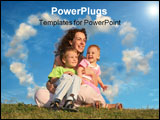 PowerPoint Template - mother with children on grass