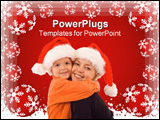 PowerPoint Template - Woman and boy - mother and son - hugging at christmas time - isolated