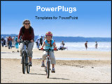 PowerPoint Template - other and daughter riding with bicycles along the beach ** Note: Slight graininess, best at smaller