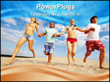 PowerPoint Template - Photo of happy friends running down sandy beach on background of cloudy sky