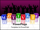 PowerPoint Template - 3d colour cubes with text - motivate word with reflection