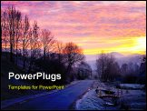PowerPoint Template - Sunrise and mountain village road with first autumn frosts