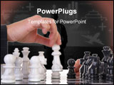 PowerPoint Template - chessplayer making a move on a beautiful marble chessboard