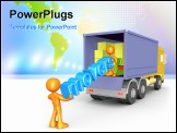 PowerPoint Template - 3d people unloading a cargo truck .