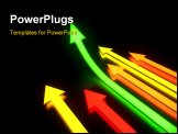 PowerPoint Template - Bright colorful glowing arrows in dark with reflections. 3d illustration