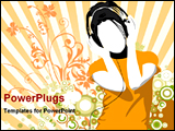 PowerPoint Template - girl listening music with headset