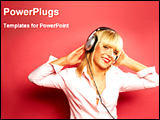 PowerPoint Template - young lady listening music with headset