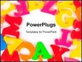 PowerPoint Template - Multicolored toy letters - abstract education background