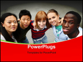 PowerPoint Template - young people of different ethnic groups on the schoolyard