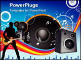 PowerPoint Template - speaker and music illustration on blue with rainbow