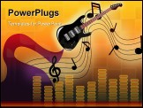 PowerPoint Template - illustration of a fairy play guitar shows stave