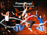 PowerPoint Template - casual group of happy young people jumping isolated over a white background