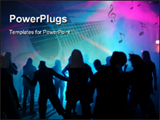 PowerPoint Template - Silhouettes of dancing people in an underground club